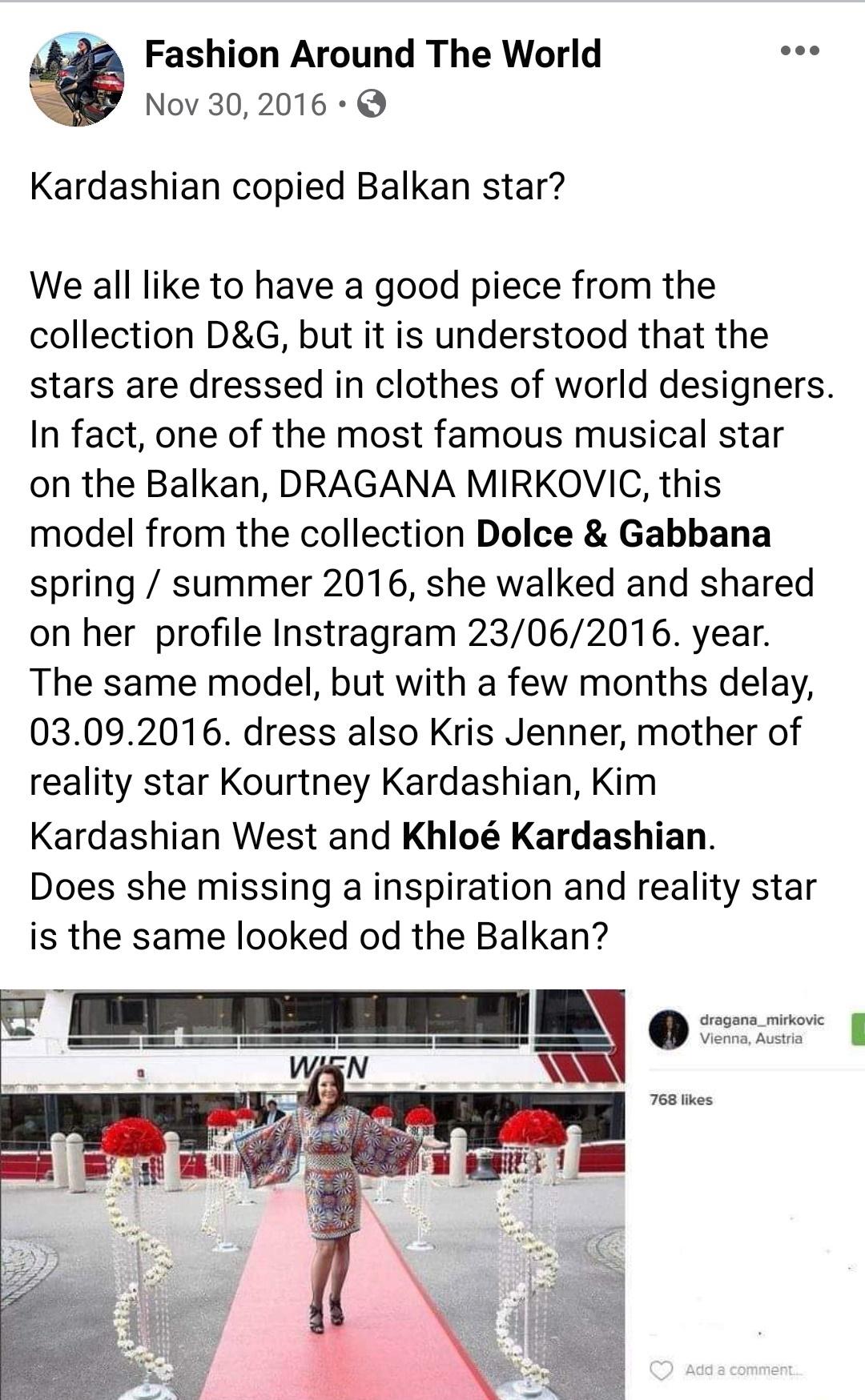 Dragana Mirkovic, Dolce & Gabbana